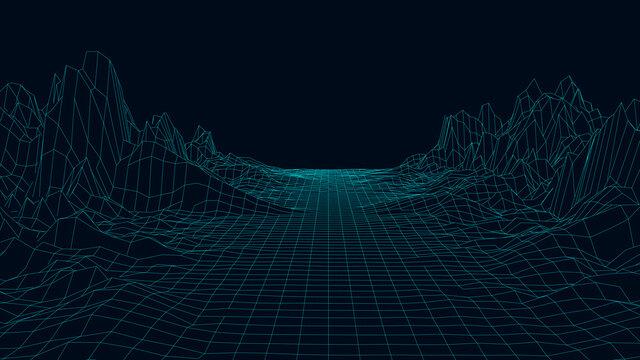 Technology wireframe landscape. Futuristic polygonal terrain background. Digital vector illustration. Retro design.