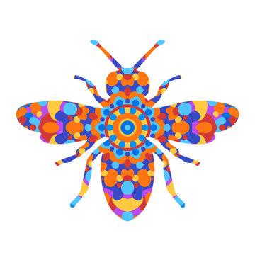 Mandala Rainbow Bee - Vector Animal