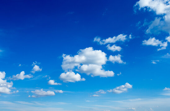Blue sky background with tiny clouds. fluffy clouds in the sky. Background summer sky