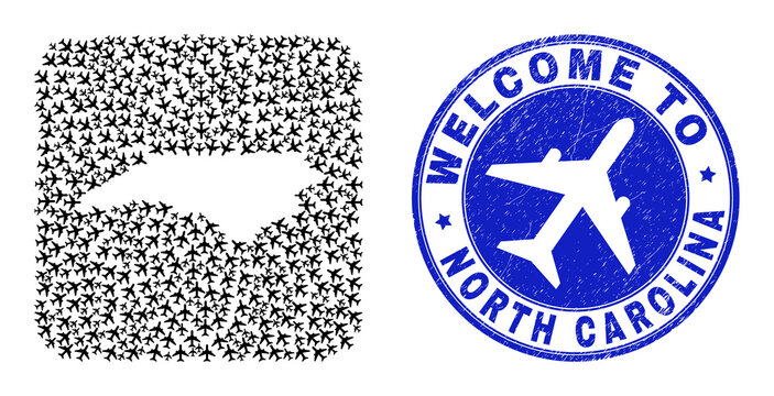 Vector mosaic North Carolina State map of airline elements and grunge Welcome seal stamp. Mosaic geographic North Carolina State map designed as carved shape from rounded square shape with air planes.