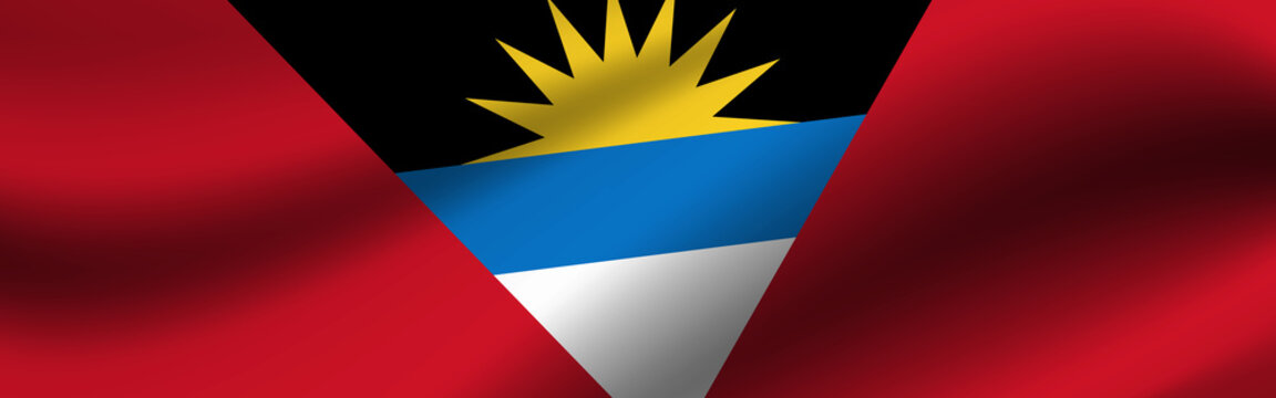 Banner with the flag of Antigua and Barbuda. Fabric texture of the flag of Antigua and Barbuda