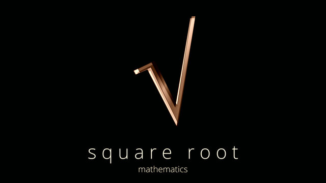 Mathematical Operators. Square root symbol, illustration. Logo, poster of Math typographic sign. Simplicity and elegance in the icon in ocher tones and design effects. Distinguished black background.