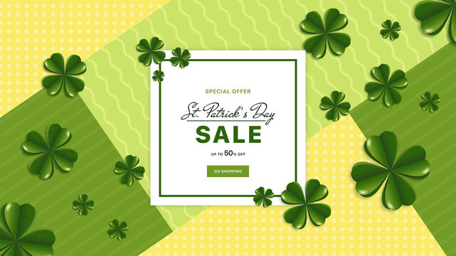 St.Patrick's Day Sale banner. Promo sale 17 March banner