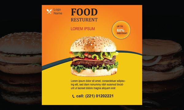 Food Resturant Big Discount Social Media Banner Template Design