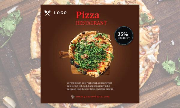 Pizza Resturant Big Discount Social Media Banner Template Design