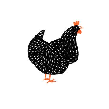Illustrated back hen