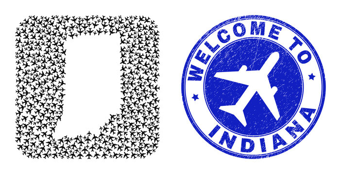 Vector collage Indiana State map of air plane elements and grunge Welcome badge. Collage geographic Indiana State map constructed as carved shape from rounded square shape with air shippings.