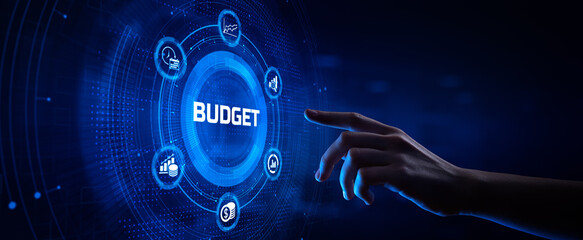 Obraz Budget Budgeting Financial management accounting business concept. Hand pressing button on screen. - fototapety do salonu