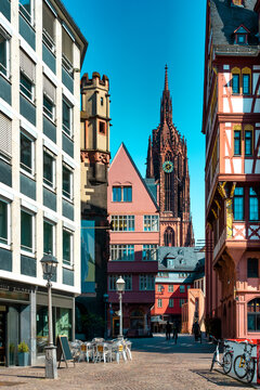 The new old town of Frankfurt am Main with view to the Cathedral, Germany