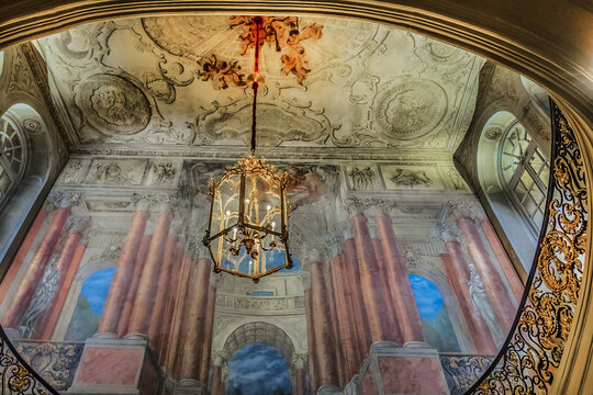 Interior of Nancy Hotel de Ville (City Hall), also known as Palais de Stanislas (Stanislas's Palace, 1752 - 1755) at Place Stanislas. Main staircase. Nancy, Lorraine, France. October 22, 2017.