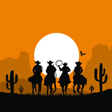 Cowboy riding a wild horse. Vector illustration American desert and cactuses isolated