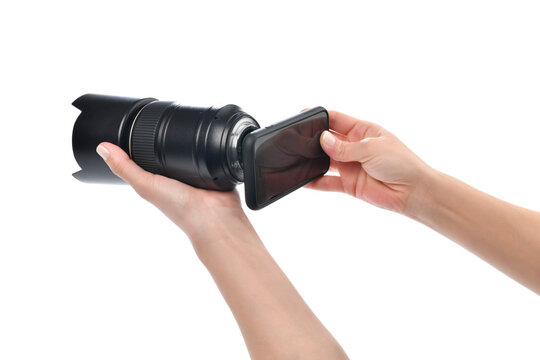 Lifehacks;  How to use your lens with your smartphone.    Attach your phone to the back of your DSLR, with the phone's camera looking through the viewfinder
