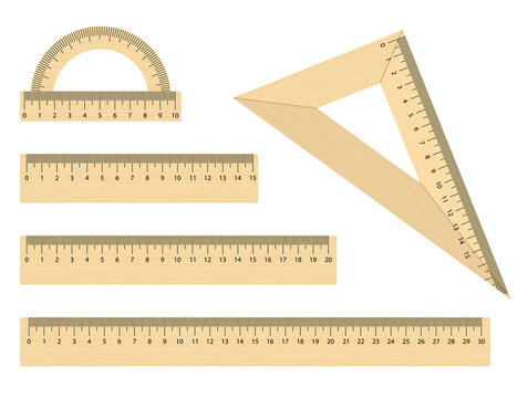 Set of realistic wooden ruler instruments. School wooden triangle, protractor and rules 15, 20, 30 centimeters. Flat style. Vector objects on white background
