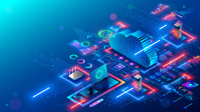 Cloud technology. Cloud computing. Devices connected to digital storage in data center via internet. IOT. Smart home. Communication laptop, tablet, phone and domestic devices with online database.