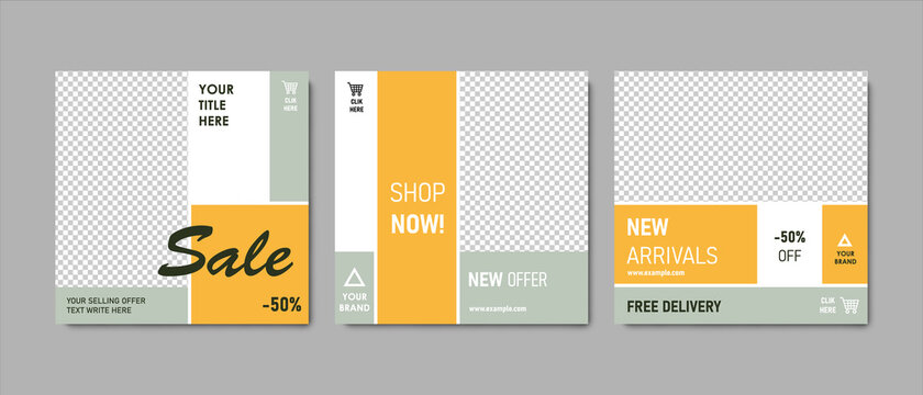 Clean editable social media post templates for shop offer with yellow and grey trendy colors,  contrast accent. Possitive modern business shopping banner graphics for online advert or fb and instagram