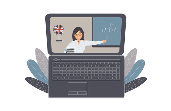 The concept of distance learning, e-learning or online training during the virus epidemic.Laptop with open Internet page with cute english teacher and books. For ad online language schools.Raster