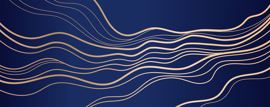 Luxury golden mountain hills landscape art deco background wallpaper. Gold metallic waves on dark blue vector decoration.