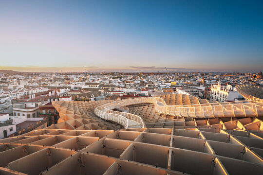 Aerial view of Seville and Metrosol Parasol viewpoint (Las Setas) - Seville, Andalusia, Spain