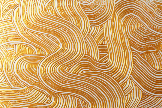 Abstract gold (bronze) color acrylic wave painting. Canvas vintage grunge texture horizontal background.