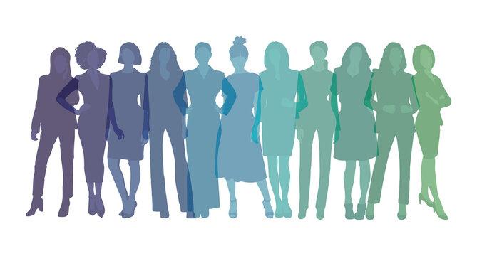 Women sihlouette vectors, business women colorful figure illustration