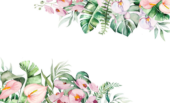 Watercolor tropical flowers and leaves border illustration
