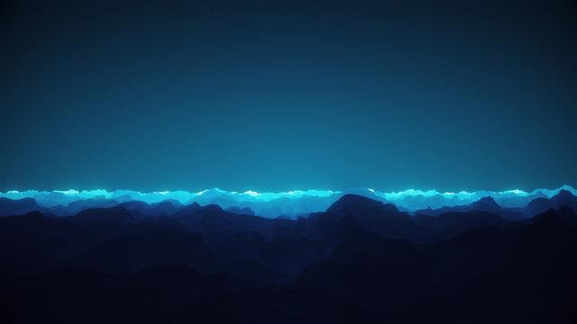 Stylized Night Stary Sky Horizon Landscape Background