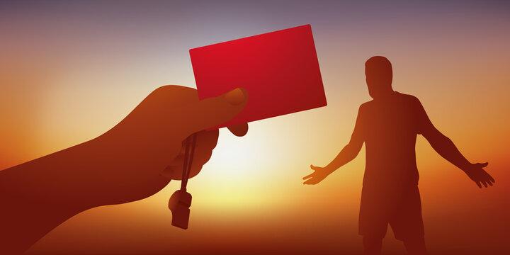 Concept de la faute sanctionnée par un arbitre de football, qui tend un carton rouge à un joueur pour l'exclure du terrain.