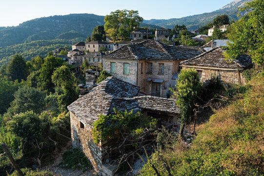 Stone houses of traditional architecture in Mikro Papigo in Epirus, Greece
