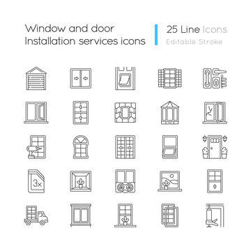 Window and door installation service linear icons set. Increasing energy efficiency. Break-in prevention. Customizable thin line contour symbols. Isolated vector outline illustrations. Editable stroke