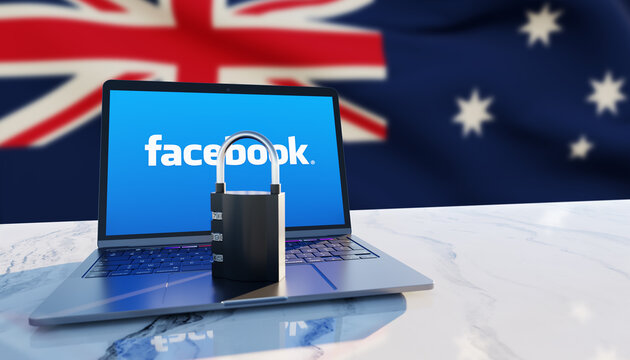 Guilherand-Granges, France - February 18, 2021. Notebook with Facebook logo, padlock and Australian flag in the background. American social media conglomerate corporation.