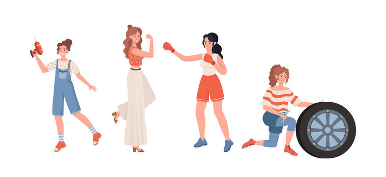 Female professions vector flat illustration . Woman engaged in boxing, repairs breakdowns, change car wheel. Strong, self sufficient, and independent women. Feminism, International Woman Day.