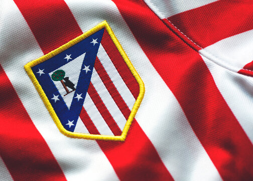 Close-Up on Logo of Atlético Madrid Football Club in the sports shirt