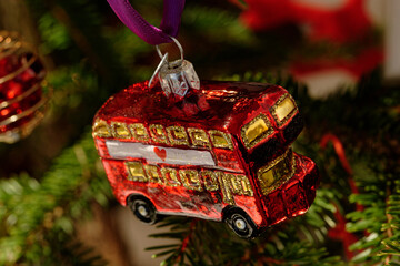 Christmas tree decorations. London red bus