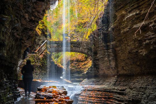 a stone bridge and waterfalls of Gorge trails  in autumn of Letchworth state park, New York