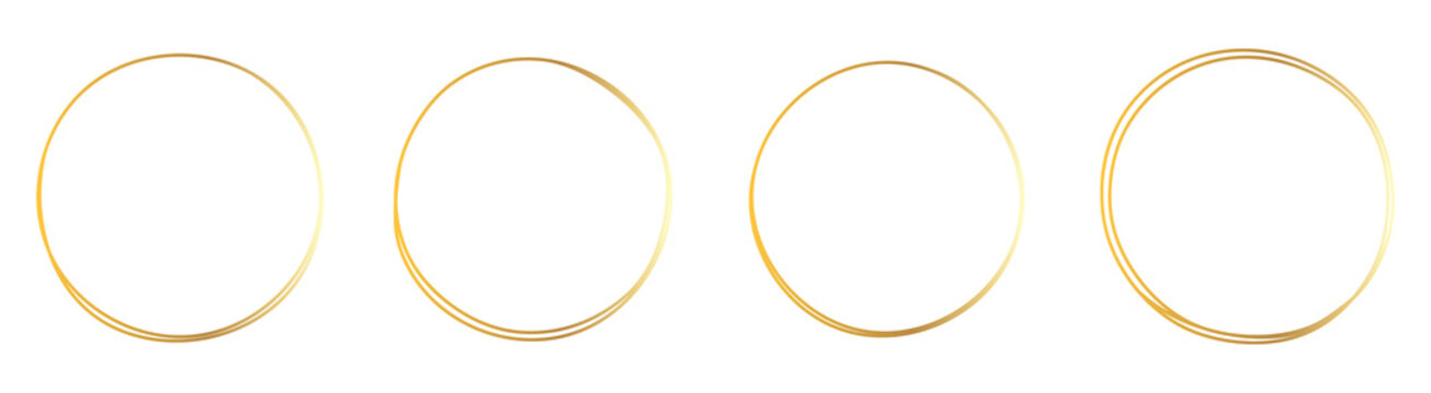 Set of hand drawn gold circle, sketch lines. Vector circular doodle frame, doodle golden circles Isolated on white background