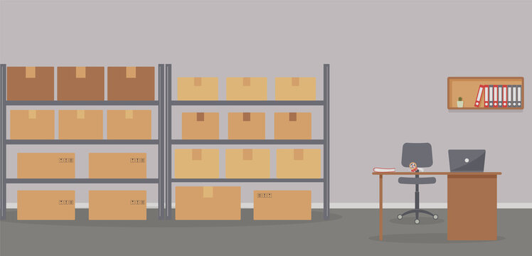 Warehouse: racks with boxes and workplace of warehouse manager, storekeeper or warehouse worker.Tape dispenser on desk with laptop, shelf with folders and cactus.Cozy place of work.Vector illustration