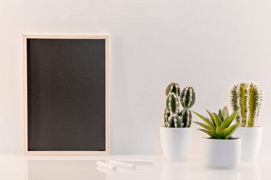 Modèle de tableau noir en ardoise avec espace vide pour logos, inscription publicitaire. Cadre en mode portrait sur un espace de travail avec des plantes vertes et des craies.
