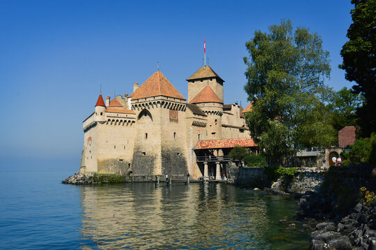 Montreux, Switzerland- August 24, 2019. Chillon Castle on Leman (Geneva) lakeshore, Montreux Riviera, Switzerland.
