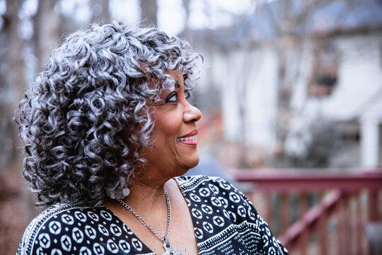 Portrait of senior citizen woman with grey hair