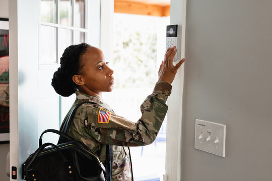 Military woman sets house alarm leaving to serve country duty