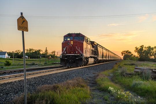 Train on tracks, Ontario, Canada