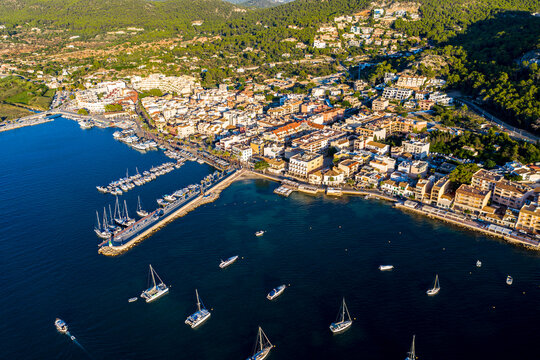 Spain, Balearic Islands, Andratx, Helicopter view of coastal town in summer