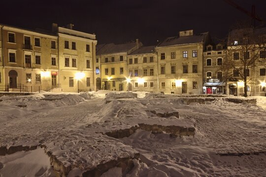 Townhouses of the old town in Lublin covered with white snow