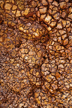 Top view of textured background of dry cracked earth in Minas de Rio tinto