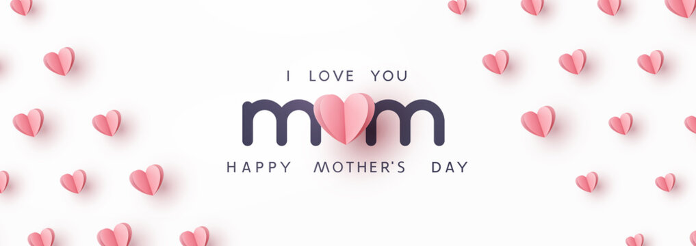 Mother's day greeting card. Vector banner with pink paper hearts. Symbols of love on white background
