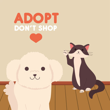 adopt dont shop lettering with dog and cat