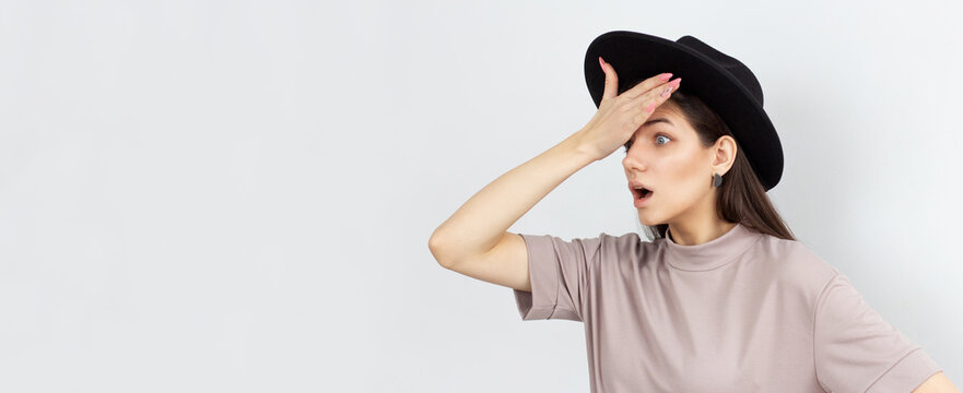 Shocked overhwelmed woman overreacting to stupid dumb mistake, forgot make important task, punch her forehead and gasping shook, open mouth wide bothered, stand embarrassed