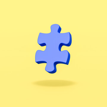 Blue Puzzle Piece on Yellow Background