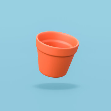 Empty Flowerpot on Blue Background