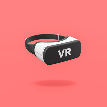 VR Virtual Reality Headset on Red Background